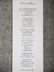 Copy of poem that Joan Collict-Revilla wrote and sent