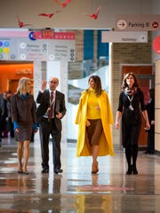 First lady Melania Trump visits Cincinnati Children's Hospital Medical Center while President Trump speaks at a Blue Ash manufacturer Monday, February 5, 2018.