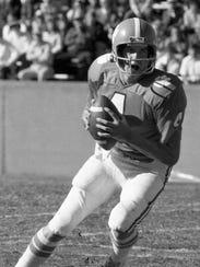 Clemson quarterback Steve Fuller (4) looks to pass