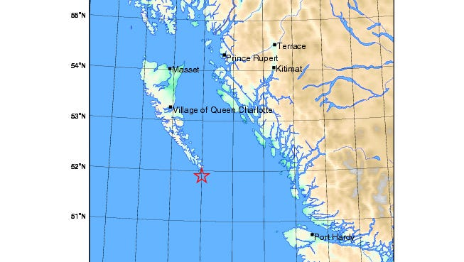 An early quake struck the northern coast of British Columbia.