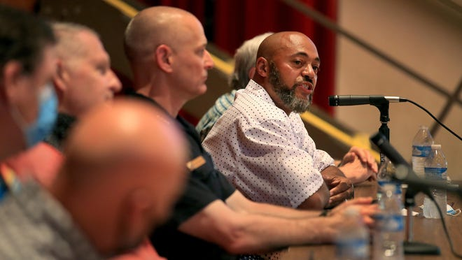 Rev. Charles Crumble Sr., with New Resurrection Church, answers a question with panelists at the NAACP Community Forum in Memorial Hall Tuesday evening, June 2, 2020.