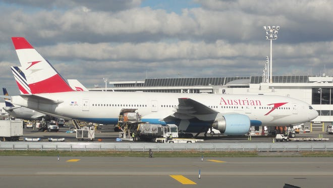 An Austrian Airlines Boeing 777 is seen at New York JFK on Oct. 18, 2012.