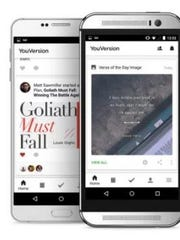 Views of the YouVersion app open on smartphones.