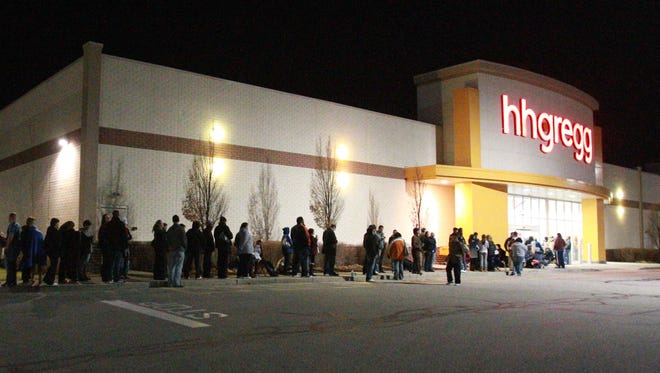 Thursday November 22nd, 2012, holiday shoppers line up around the building at Hhgregg in Noblesville in search of black Friday deals.