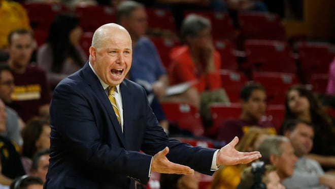 ASU head coach Herb Sendek yells at the refs during the second half of a men's college basketball game against Chicago State at Wells Fargo Arena in Tempe, AZ, on November 14, 2014.