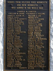 Plaque of heroes from Belford, Port Monmouth and New