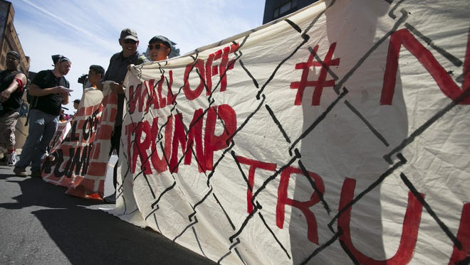 Mijente, the Ruckus Society and Iraq Veterans Against the War during the Wall Off Trump protest outside the Republican National Convention.
