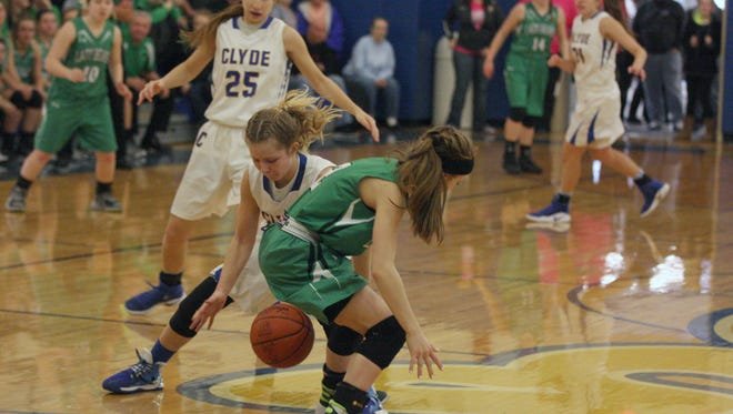 Clyde's Heidi Marshall comes up with one of her three key steals down the stretch Saturday against visiting Margaretta.