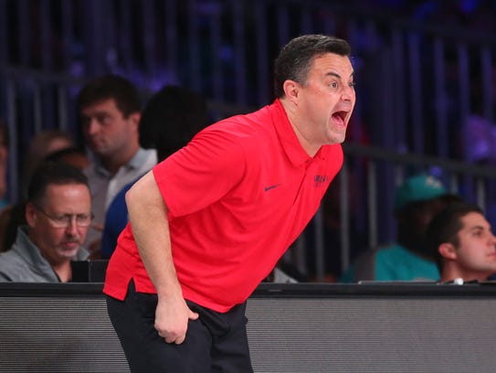 Sean Miller reacts during his team's loss to Purdue
