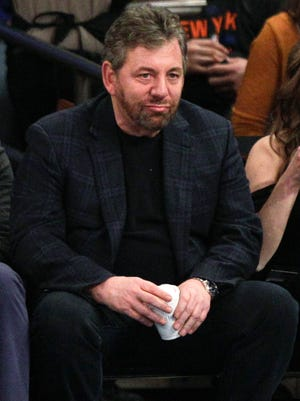 Madison Square Garden chairman James Dolan watches Saturday's Knicks game against the Golden State Warriors in New York.
