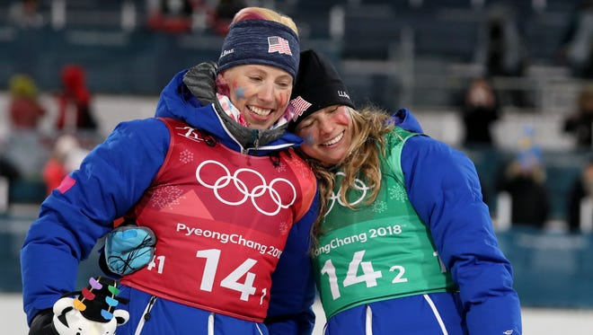 Americans Kikkan Randall (left) and Jessica Diggins won gold in cross country.