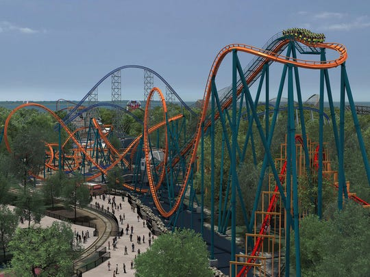 Cedar Point's Rougarou climbs to 145 feet, then plummet riders 137 feet, to within inches above the water below.