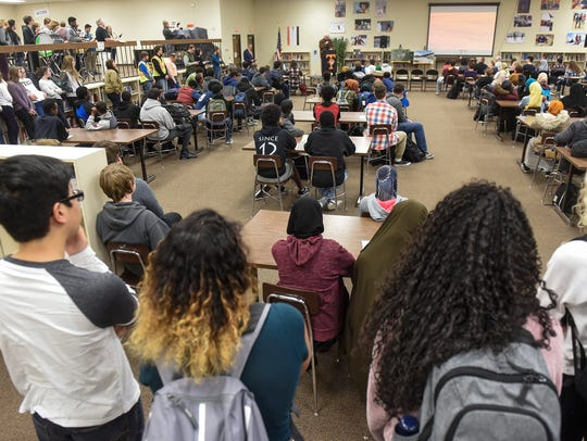 Students gather for a time capsule ceremony Wednesday,