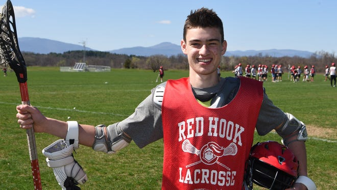 Liam O'Farrell, 18, a senior at Red Hook High School, pictured during a break in lacrosse practice. O'Farrell was in a near-fatal car accident on November 22, 2016, but has successfully recovered and returned to playing.