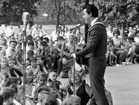 Ray Pillow, the newest member of the Grand Ole Opry, performs before more than 6,000 on Father's Day June 19, 1966 at The Tennessean's Centennial Park concert.