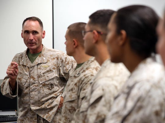 Col. Ernest L. Ackiss speaks to Marines in Cherry Point