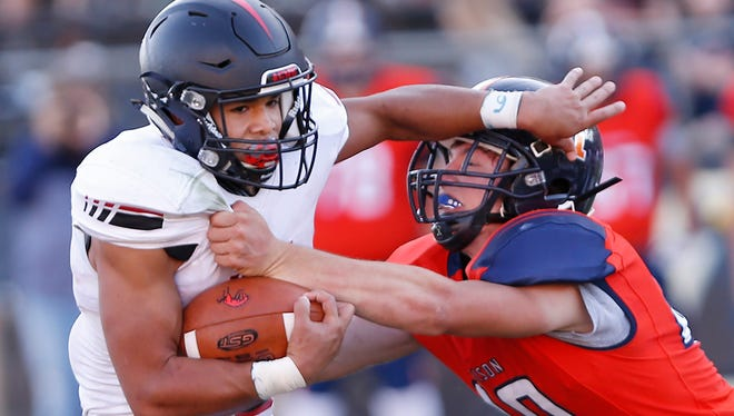 Harrison senior linebacker Butch Knox has 135 tackles in nine games , leading all of Class 5A.