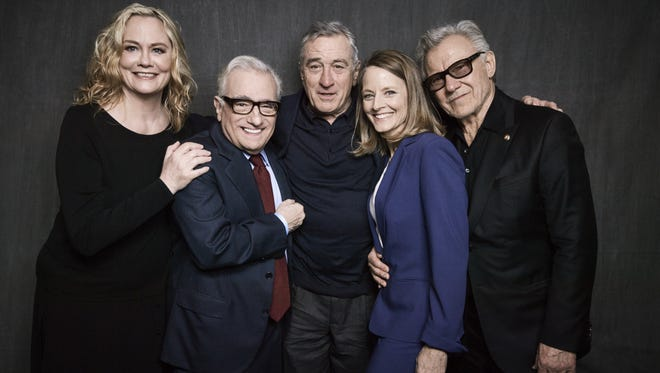 Cybill Shepherd, left, Martin Scorsese, Robert De Niro, Jodie Foster and Harvey Keitel pose at the 'Taxi Driver' 40th anniversary screening in New York Thursday.