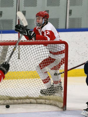 Penfield's Andrew Ebersol  celebrates his second period goal against Pittsford.