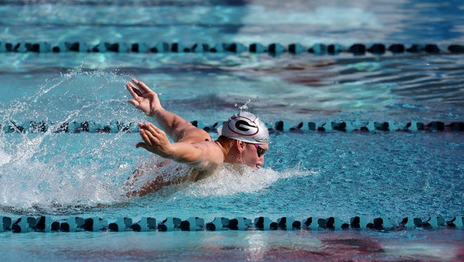 Chase Kalisz competes in the preliminary heat of the men's 200 meter butterfly on day three of the Arena Pro Swim Series - Mesa at Skyline Aquatic Center on April 15, 2017 in Mesa, Arizona.