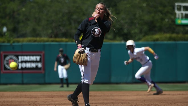 Florida State starter Meghan King pitches against LSU during the Tigers 1-0 win in the Tallahassee Super Regional at JoAnne Graf Field on Saturday.