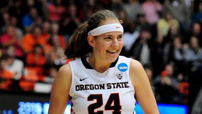 Oregon State guard Sydney Wiese celebrates a steal against Gonzaga during the second round of  the NCAA Women's Basketball tournament second round at Gill Coliseum, on Sunday, March 22, 2015, in Corvallis.