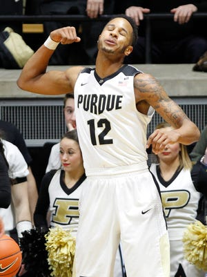 Vince Edwards reacts after blocking a shot by Michigan State's Denzel Valentine at 12:46 in the first half Tuesday, February 9, 2016, at Mackey Arena. Purdue defeated Michigan State 82-81 OT.