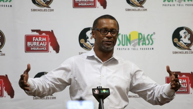 Florida State Head Football Coach Willie Taggart speaks in a press conference at Coyle E. Moore Athletic Center before FSU's Pro Day Tuesday, March 20, 2018.