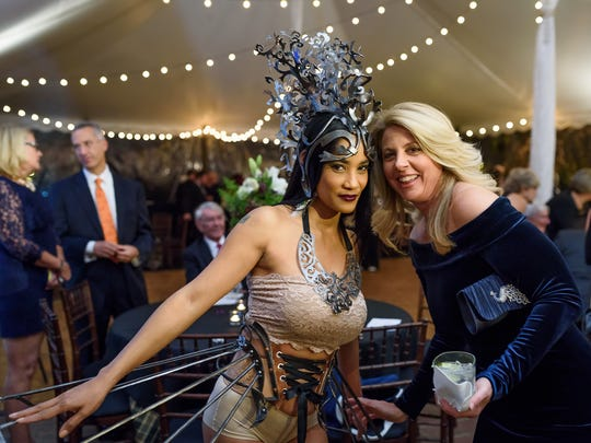 Limen House board chairman Sally Prendergast at the 2016 Amethyst Ball with a model wearing Ellen Durkan ironware.