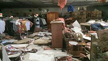 Storm damage wrecked the Salvation Army Family Store on Front Street in Murfreesboro.
