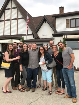 The spring meeting of the supper club club was held at Club Chalet in Green Bay with 11 members attending (from left to right)  Jen Schanen, Jacob Materi, Pedro Coghi, Jena Landers, Jemma Lund, Troy Landers, Kimberly Vlies, Rachel Klika, Reid Wooldridge, Morgan Fuller, and Trevor Fuller.