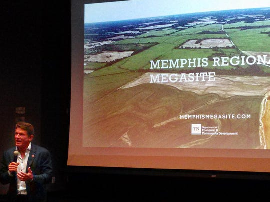 Tennessee Department of Economic and Community Development Commissioner Randy Boyd describes the new marketing campaign for the Memphis Regional Megasite to an audience at Memphis Bioworks. The state plans to attract major manufacturers to the 4,100-acre site.