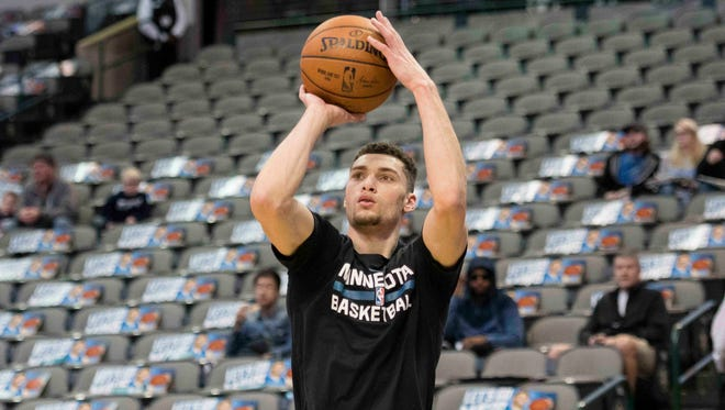 Minnesota Timberwolves guard Zach LaVine (8) warms up before the game against the Dallas Mavericks at the American Airlines Center.