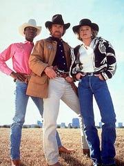 Clarence Gilyard Jr as James Trivette, Chuck Norris as Cordell Walker and Sheree J. Wilson as Alex Cahill in Walker, Texas Ranger