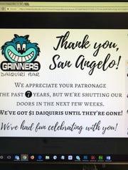 In this screenshot, Grinners Daiquiri Bar announced