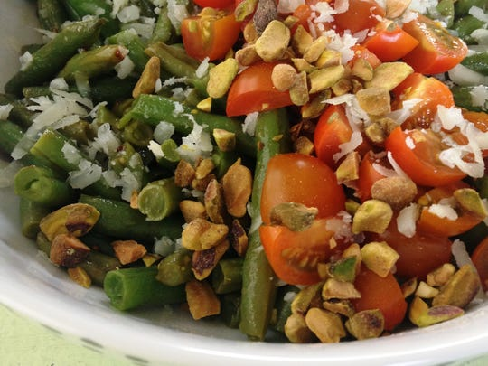 Seared Green Bean Salad with Pistachios and Cherry Tomatoes is an extraordinary salad.
