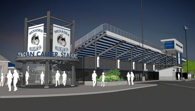 A rendering of the upgrades to Nathan Calder Stadium in Menasha.
