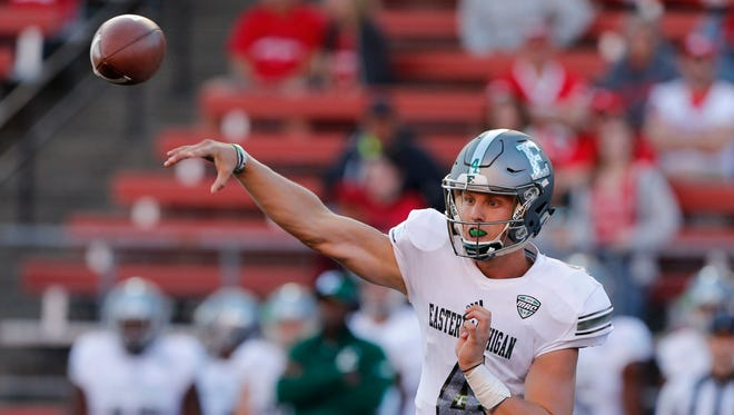 Sep 9, 2017; Piscataway, NJ, USA;  Eastern Michigan Eagles quarterback Brogan Roback (4) throws a pass against Rutgers Scarlet Knights  during second half at High Point Solutions Stadium.