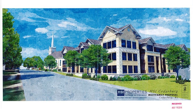 Three apartment buildings, totaling 89 units, would be developed near St. Francis Borgia Catholic Church in Cedarburg under a proposal pending before the Common Council. The proposal includes removing the church's former rectory from the city's historic preservation district.