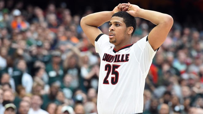Mar 29, 2015; Syracuse, NY, USA; Louisville Cardinals guard/forward Wayne Blackshear (25) reacts during the second half against the Michigan State Spartans in the finals of the east regional of the 2015 NCAA Tournament at Carrier Dome. Mandatory Credit: Rich Barnes-USA TODAY Sports