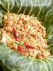 Shrimp kelaguen with donne and green onion.