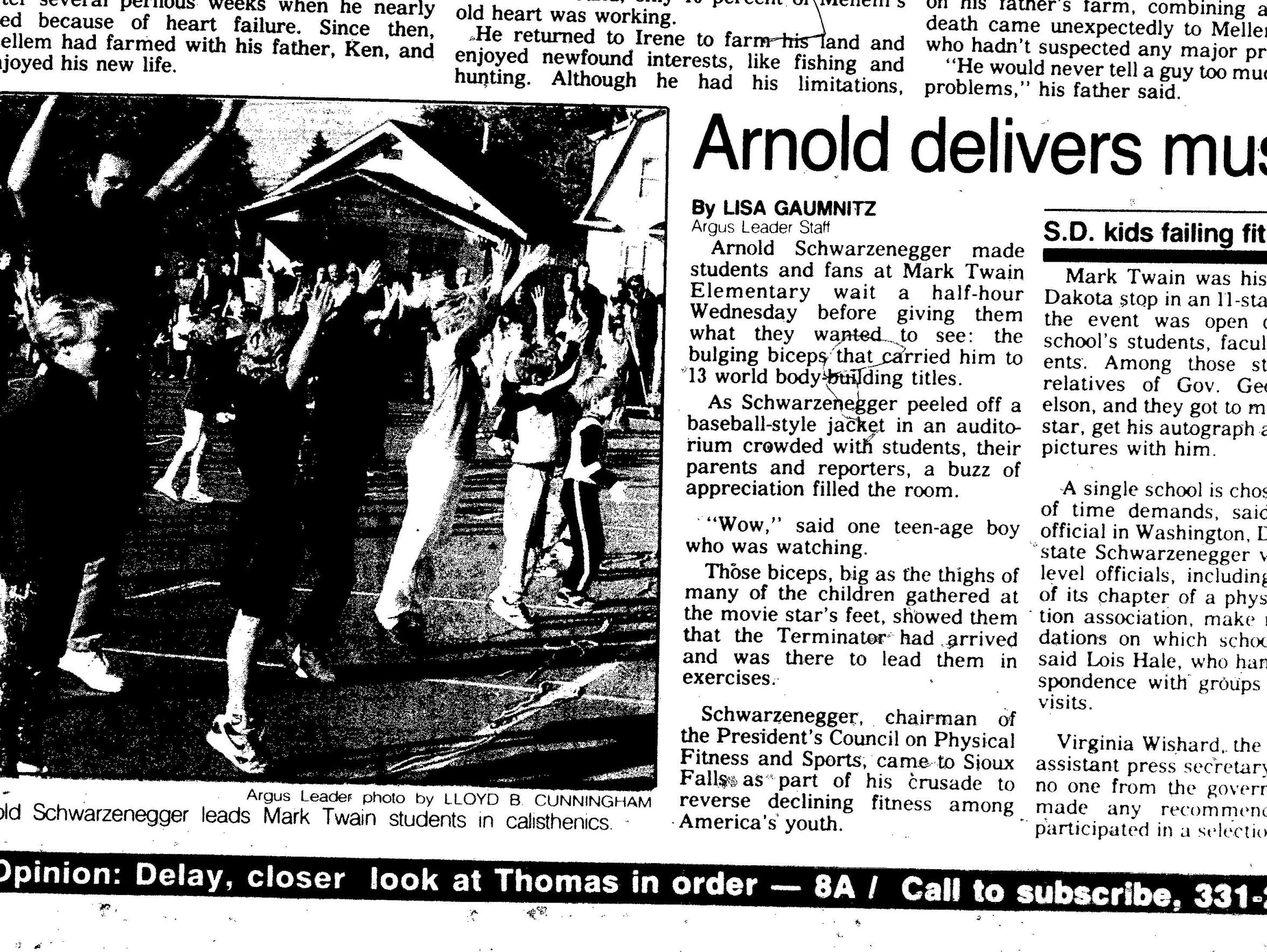 An Argus Leader newspaper clipping from when Arnold