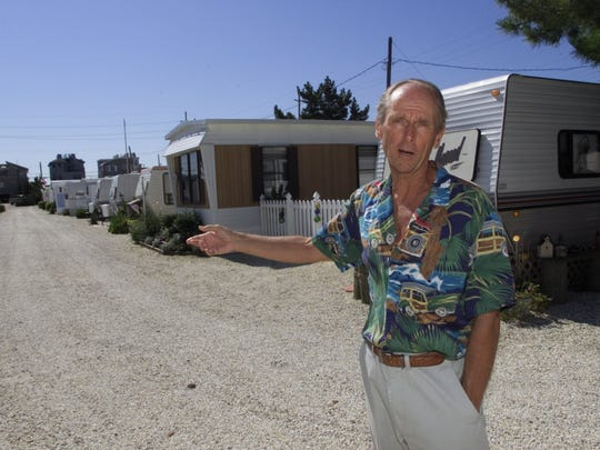 BEFORE SANDY:  Bob Muroff, owner of the Long Beach Island Trailer Park  in Holgate,  stands in front of trailer homes there. The park was rebuilt after the March 1962 nor'easter.