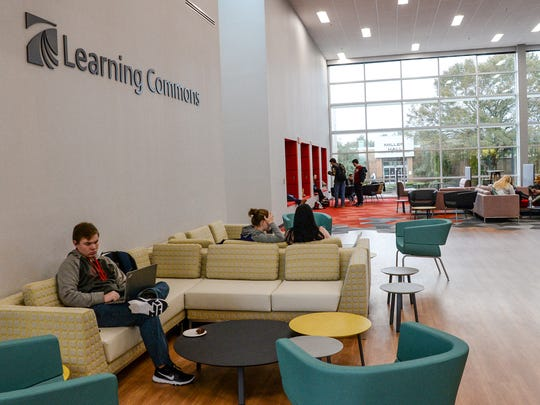 Tri-County Technical College students sit in the learning commons of the newly opened Student Success Center, following the Ribbon Cutting and Dedication Ceremony in Pendleton on Friday, January 12, 2018.