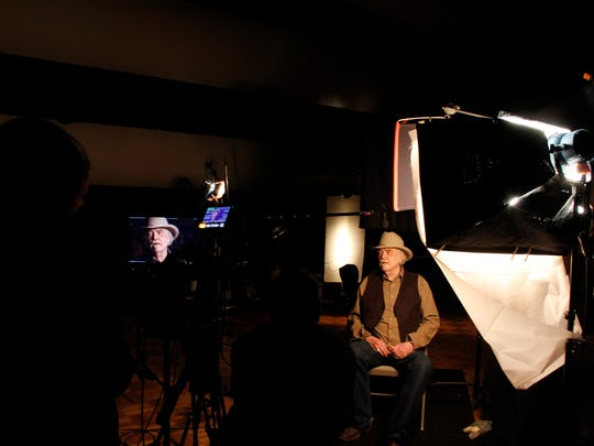 """Guy Clark being interviewed for Ken Burns' upcoming documentary film series """"Country Music."""" In telling the story of the genre, it was important to Burns and his crew to interview the instrumental figures while they were still alive to tell their stories."""
