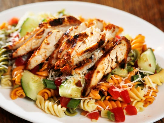 Pasta salad with grilled chicken Wednesday, March 1, 2017, at Sgt. Preston's of the North, 6 North Second Street in downtown Lafayette.