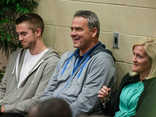 T.J. Leaf's family joined him Friday at Bankers Life