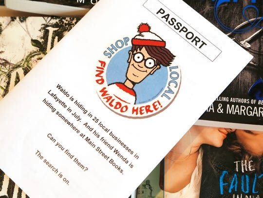 A passport for the Where's Waldo scavenger hunt Monday,