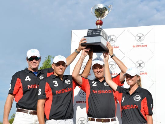 Nissan wins polo match, the Nissan team included Virginia Ingram, Orrin Ingram, Wes Finlayson and James Armstrong