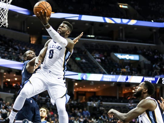 December 04, 2017 - James Ennis III goes up for a shot during Monday night's game versus the Minnesota Timberwolves at the FedExForum.